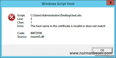 80072F06 msxml3.dll The host name in the certificate is invalid or does not match