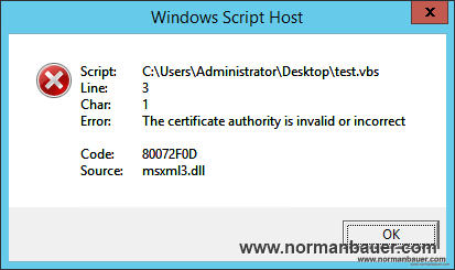 80072F0D msxml3.dll The certificate authority is invalid or incorrect