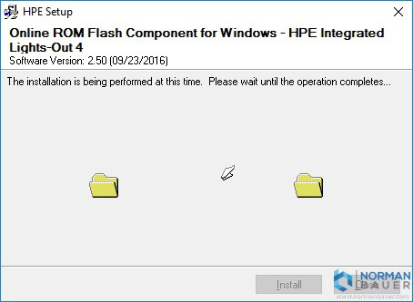 Online ROM Flash Component for Windows - HPE Integrated Lights-Out 4 Installation in Progress