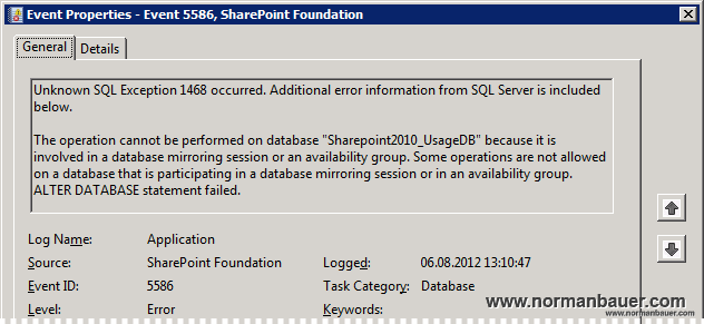 Sharepoint Foundation, Event 5586, mirroring or availability group