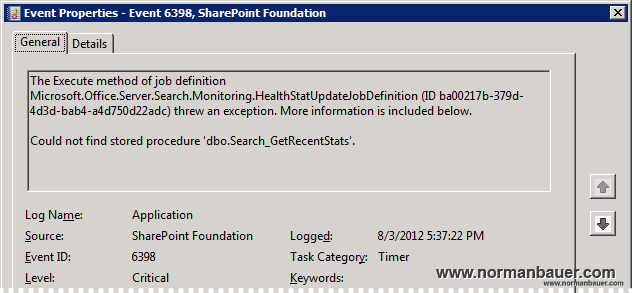 "Hot to fix Sharepoint Event 6398 ""Could not find stored procedure 'dbo.Search_GetRecentStats'.""?"