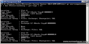System Center Data Protection Manager - Get list of known tapes in powershell