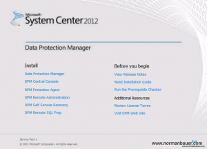 DPM2012SP1 Welcome screen