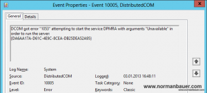 DPM2012SP1 Eventlog error 10005 on protected server