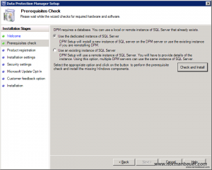 DPM2012SP1 Prerequisites check