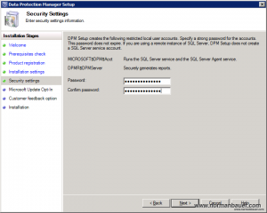 DPM2012SP1 Security Settings