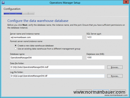 System Center 2012 SP1 Operations Manager Configure the data warehouse database