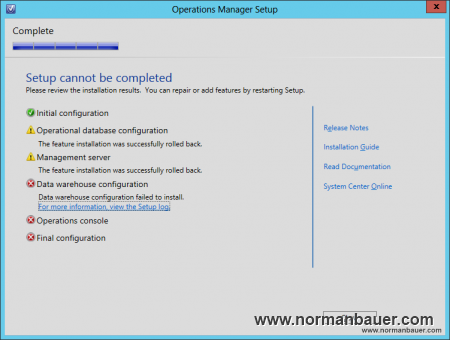 System Center 2012 SP1 Operations Manager Datawarehouse configuration failed to install