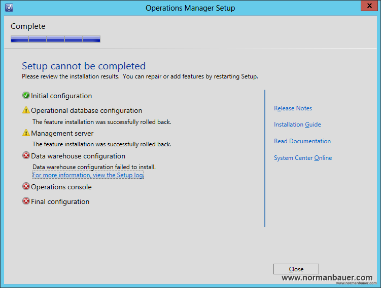 System Center 2012 SP1 Operations Manager: Datawarehouse configuration failed to install