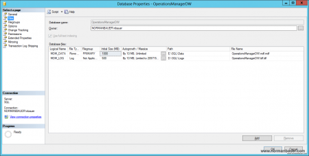 System Center 2012 SP1 Operations Manager Datawarehouse database files in SQL