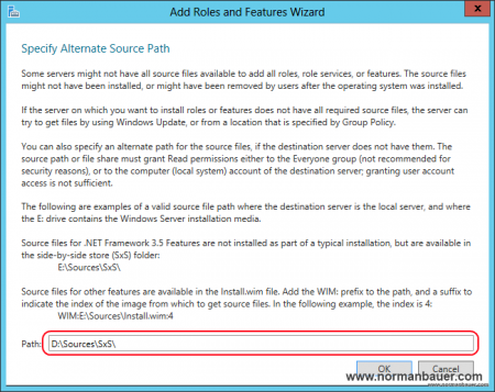 SharePoint 2013 Preparation Install .NET Framework 3.5 Features alternate source path 2