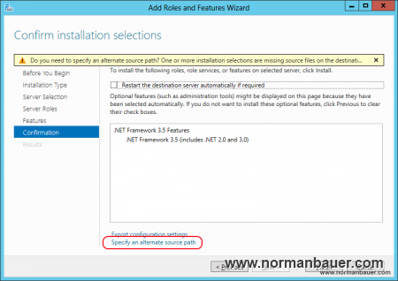 SharePoint 2013 Preparation Install .NET Framework 3.5 Features alternate source path