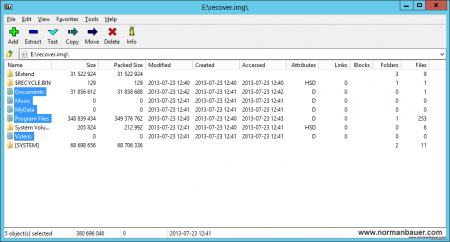 7-zip - opened img file