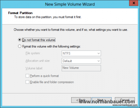 New Simple Volume Wizards - do not format