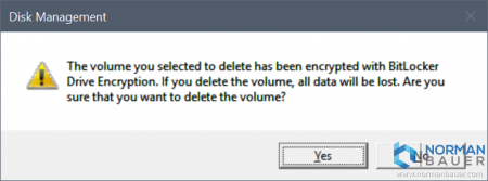 Are you sure that you want to delete a BitLocker encrypted volume