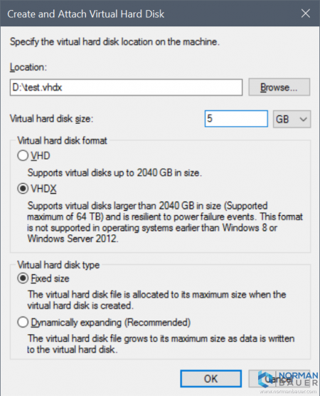 Create and Attach Virtual Hard Disk