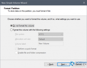New Simple Volume Wizard Do not format this volume