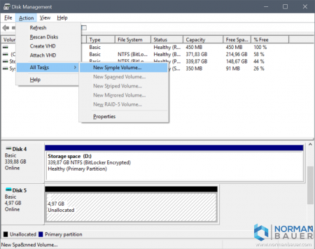 Windows 10 Disk Management New Simple Volume