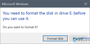 You need to format the disk in drive E before you can use it