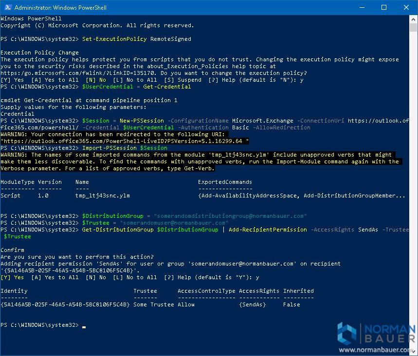 Configure SendAs Permissions on an Office365 Distribution