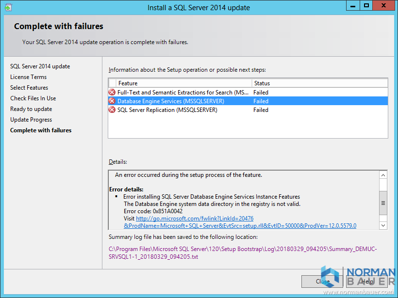 SQL Server Update: The Database Engine system data directory in the registry is not valid