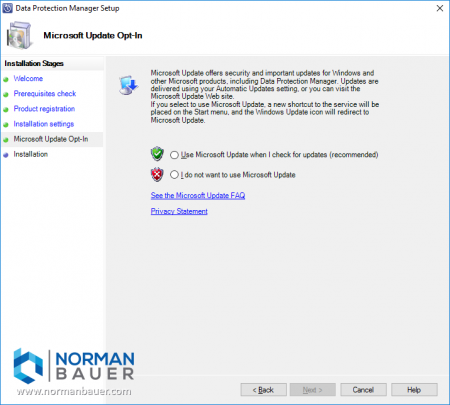 Install Data Protection Manager 1801 Use Microsoft Updates