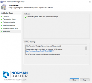 Install Data Protection Manager 1801 finished