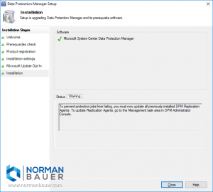 Install Data Protection Manager 1801 Agent Update Warning