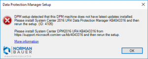 Install Data Protection Manager 1801: UR4 not installed