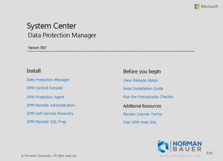 Install Data Protection Manager 1801 Welcome Screen
