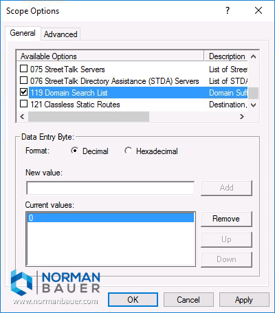 Windows Dhcp Server Dhcp Option 119 Available